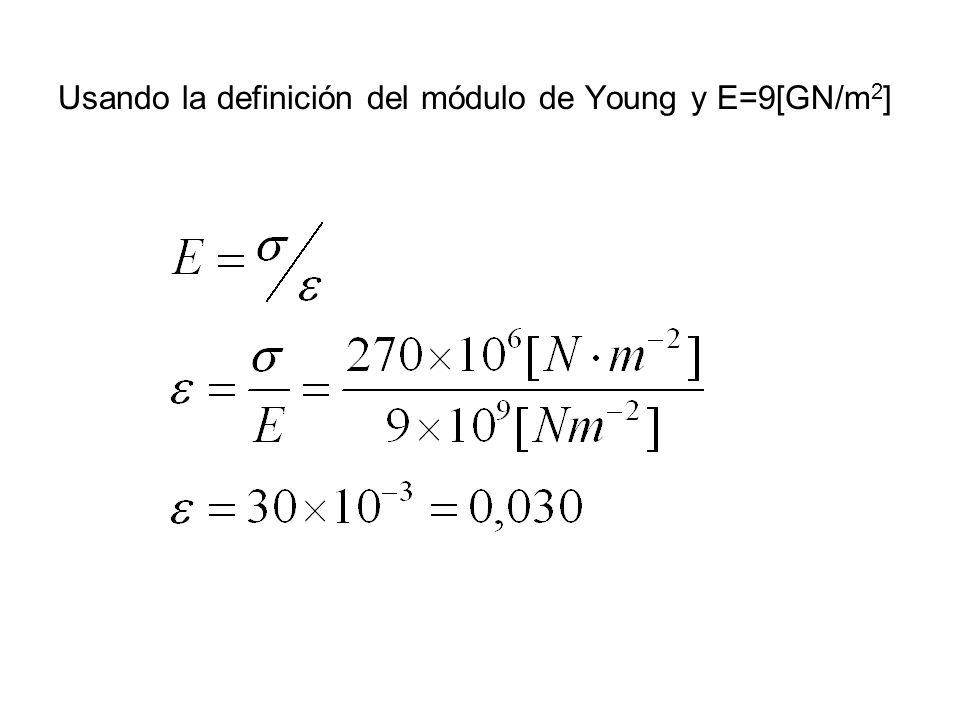 Usando la definición del módulo de Young y E=9[GN/m2]